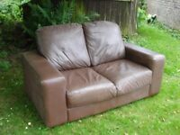 OLD LEATHER SOFA ~ TWO SEATER ~ SMALL SOFA ~ BROWN LEATHER ~ GOOD & STURDY - £10