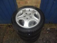 Set of 4 Mercedes A140 Alloys with nearly new tyres.