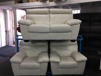 ScS New/Ex Display White/Cream Leather 2 + 1 + 1 Seater Sofas