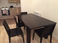 Table and 4 chairs Habitat black ash