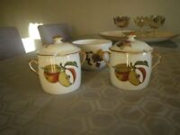 ROYAL WORCESTER LIDDED JAM or MARMALADE POTS + SUGAR BOWL. EVESHAM PATTER. FINE PORCELAIN.