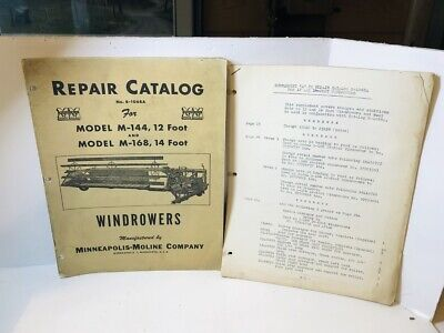 Original Minneapolis Moline Model M-144 M-168 12 14 Windrower Repair Catalog