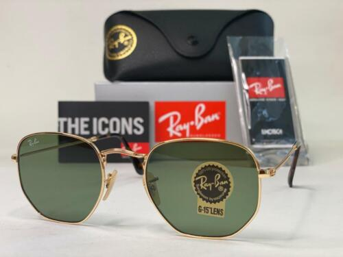 Ray-Ban RB3548N Hexagonal Sunglasses Gold Metal Frame Green G15 Lenses