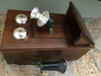 Old box telephone wall hanging case NO TELEPHONE