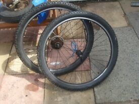 mountain bike wheels with alex rims absolute great set 21 geared