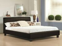 BRAND NEW 4FT6 Double/5FT King Size Black/White Leather Bed Frame WITH Deep Quilt Mattress Range
