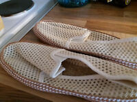 WALKING STICKS (2) AND MANS SOFT SHOES SIZE 44