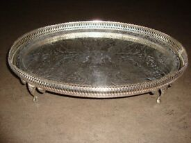 Silver plated ornate tray