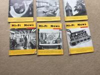 Bundle of 6 vintage Hi-Fi News magazines 1960s Stereo Records Vinyls