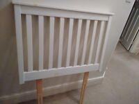 White wooden single bed headboard