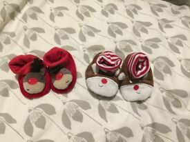 Lovely Christmas booties baby 0-3 months boy girl