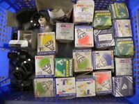 Job lot of LV light fittings and lamps- some coloured