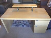 IKEA MALM desk with storage unit and desktop shelf/Birch - £45