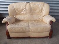Mottled Cream Leather 2-seater Sofa with matching Armchair
