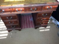 Large Antique Solid Wood with Leather inlay desk