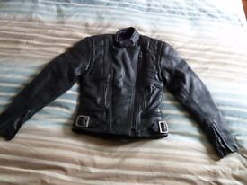 Belstaff Ladies/Womens Black Leather Biker Jacket. Size 12 available.