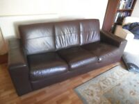 Leather 3 seater sofa dark brown