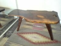 Hand made coffee table. Made of wood., kidney shaped 1980 s. Nice table.