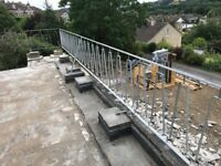 Two lengths of galvanized steel balustrade
