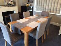 Oak veneer extending dining table