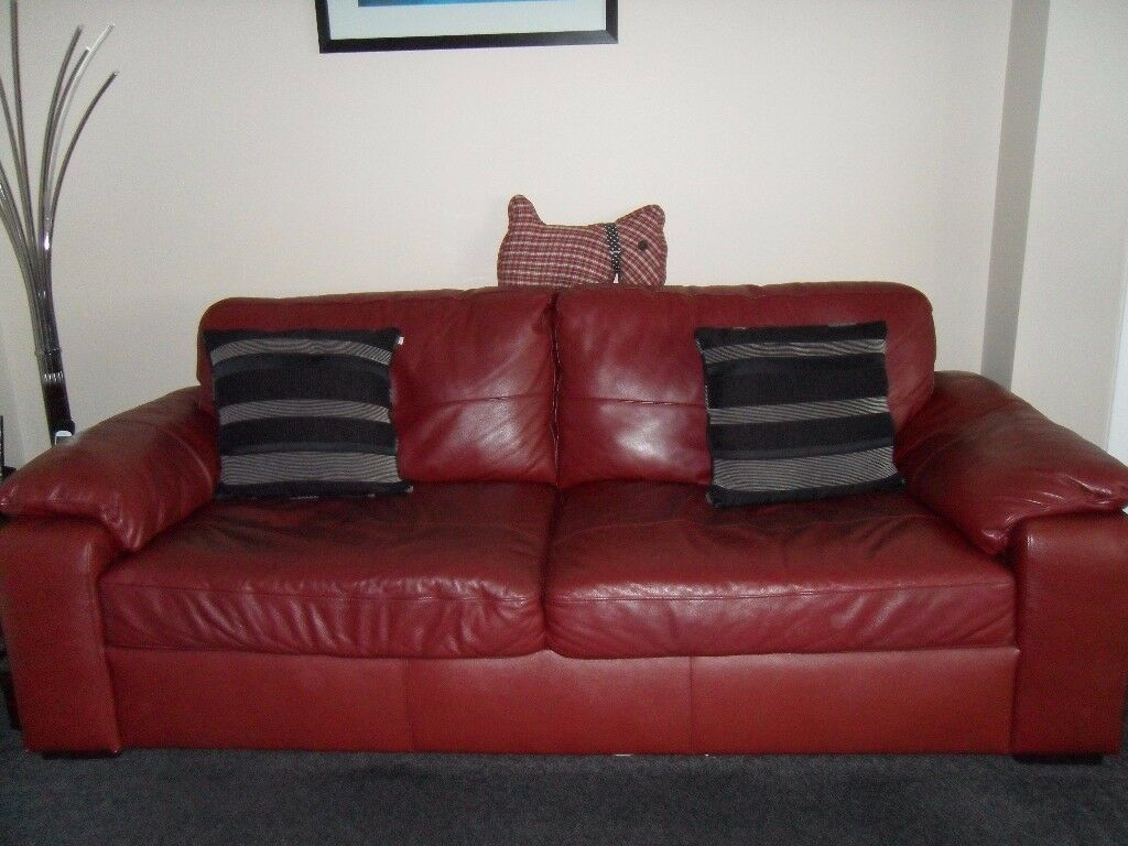 Leather 3 + 2 seater sofas
