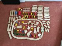 Wooden train set and accessories