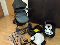 grey-black chicco urban plus travel system 3in1 stroller/pram car seat