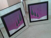 2 x Purple Picture Mirrors