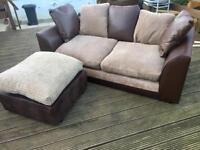 2 x 2 seater Sofas plus matching foot stool