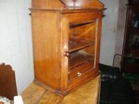 pipe smokers cabinet having fited draw pipe rack original oak
