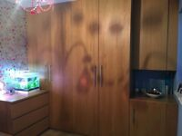 Ikea double wardrobes, half size cupboard, bed, mirror and shelves