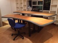 Large Two-Piece Production Desk (suitable for recording studio/editing suite) - REDUCED