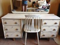 Shabby chic dresser with mirror and chair