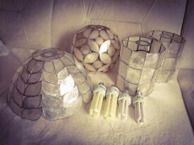 Set of 4 lamp shades + 4 eco bulbs