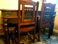 Indian Rosewood Dining Table and 4 Chairs