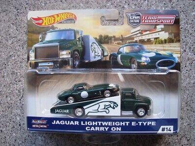 Hot Wheels Jaguar E Type Lightweight On Transporter  MOC