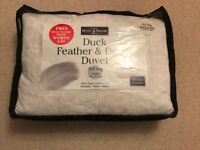 13.5 tog Duck Feather & Down Duvet Single Bed + Duck Feather Down Pillow