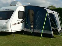 Kampa Rally 260 Awning for a caravan / Blue and grey / With all poles, plus porch poles, plus pegs