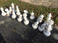 FREE Garden chess pieces some white pieces broken but can be fixed