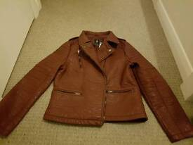 Atmosphere burgundy leather effect jacket worn 1x size 14