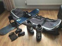 Snowboard Set: snowboard, boots, bindings, bag & hand protectors