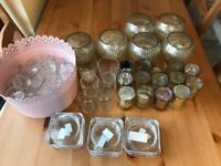 Assorted candle holders from wedding