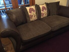 Brown DFS fabric 3 Seater Sofa and Sofa bed