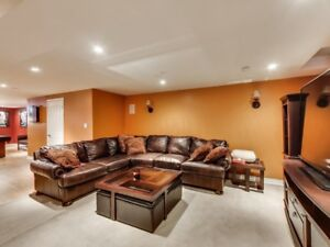 Gorgeous custom leather deep seat sectional
