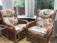 Conservatory cane furniture 5 pieces - two seater, two one seater, coffee table and small side table