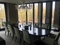 Large dining table and 10 leather chairs from Baker and chandelier