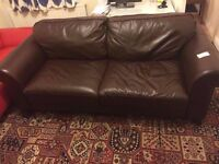 Brown 3 seater leather sofa Montero, very good condition, ex-display