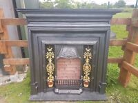 134 Cast Iron Surround Victorian style Tiled insert Antique Fireplace Fire Old