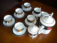 "Noritake Fine Porcelain 9 piece Teaset in the ""Impromptu"" Pattern. Microwave and Dishwasher Safe."