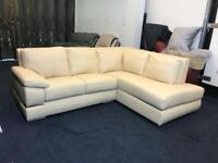 LITTLEWOODS PRIMO CREAM WHITE ITALIAN LEATHER CHAISE CORNER SOFA RIGHT HAND SIDE L SHAPE CHROME